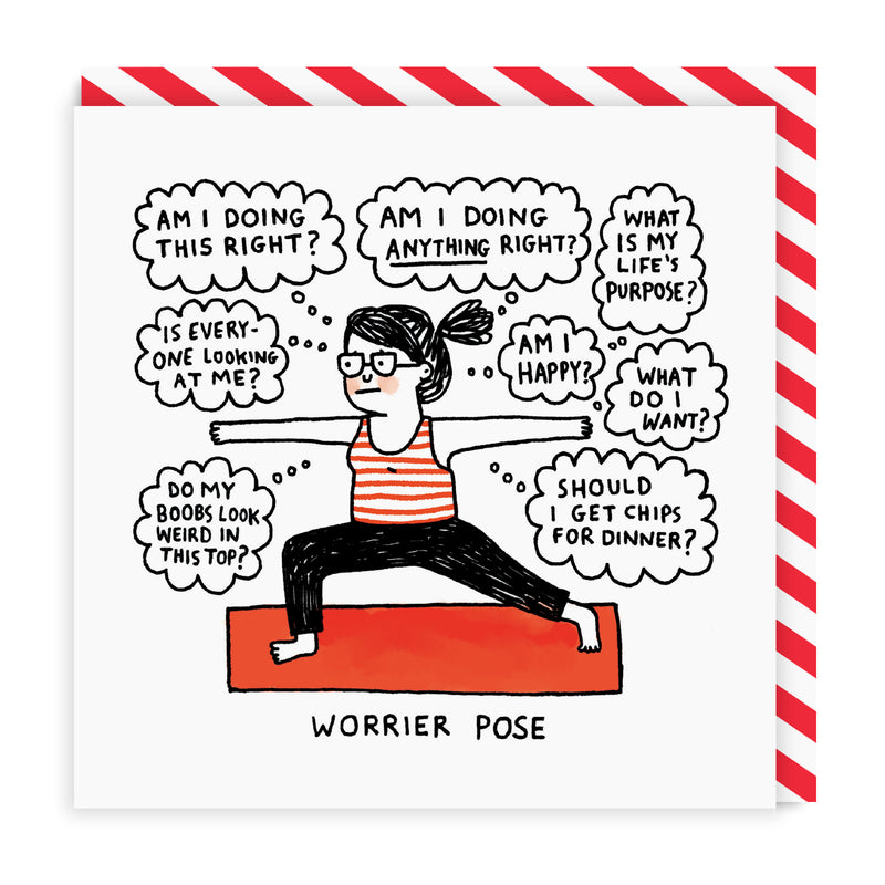 Worrier Pose Square Greeting Card