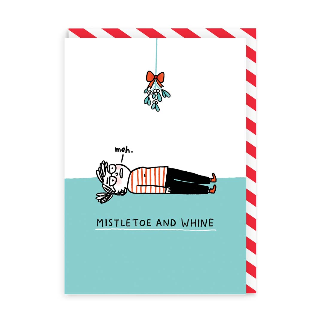 Mistletoe and Whine Greeting Card