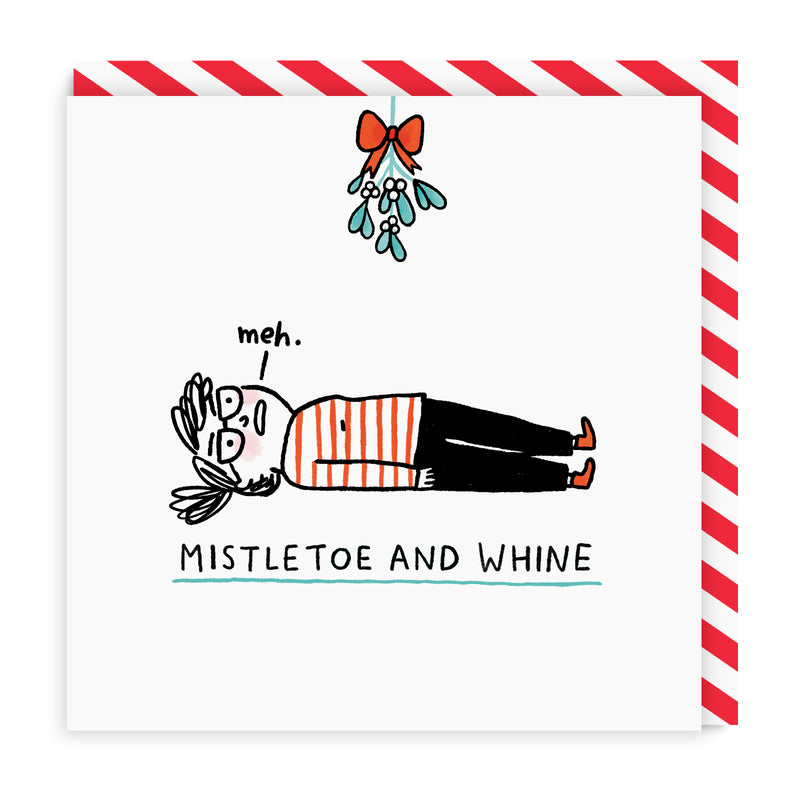 Mistletoe and Whine Square Greeting Card
