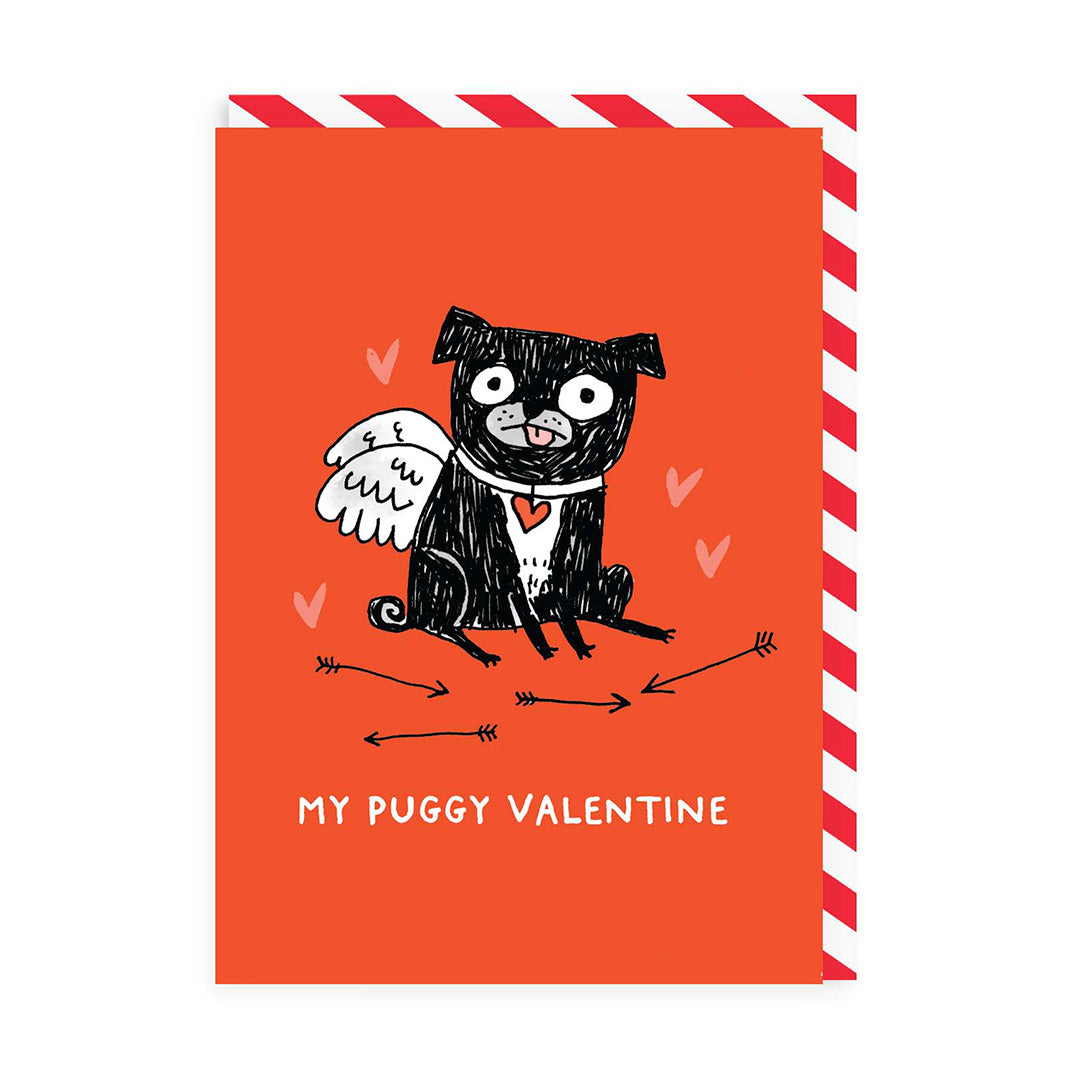 Red My Puggy Valentine Greeting Card