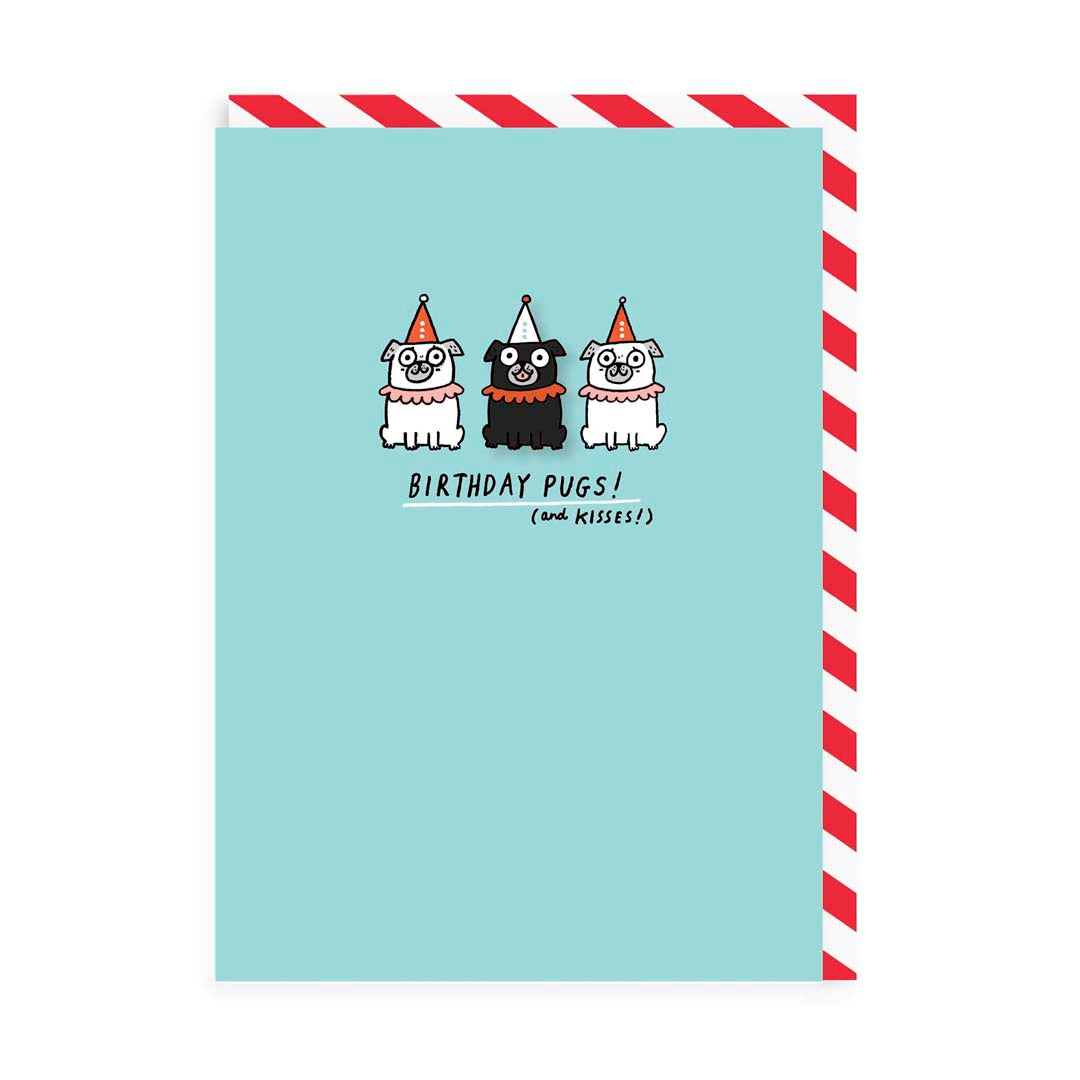 Birthday Pugs Enamel Pin Greeting Card