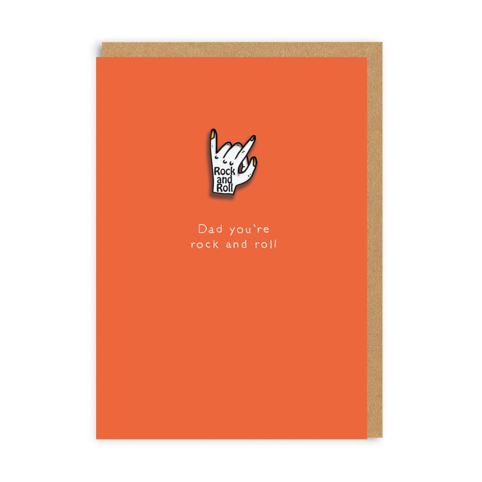 Fathers Day Rock N Roll Enamel Pin Greeting Card