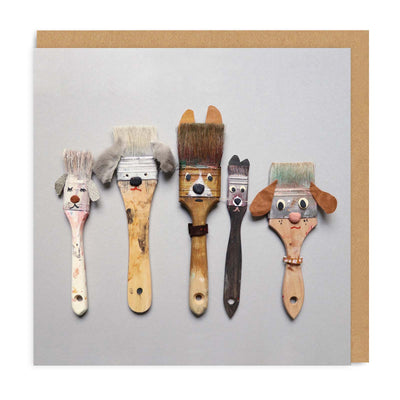 Paintbrush Dogs Square Greeting Card