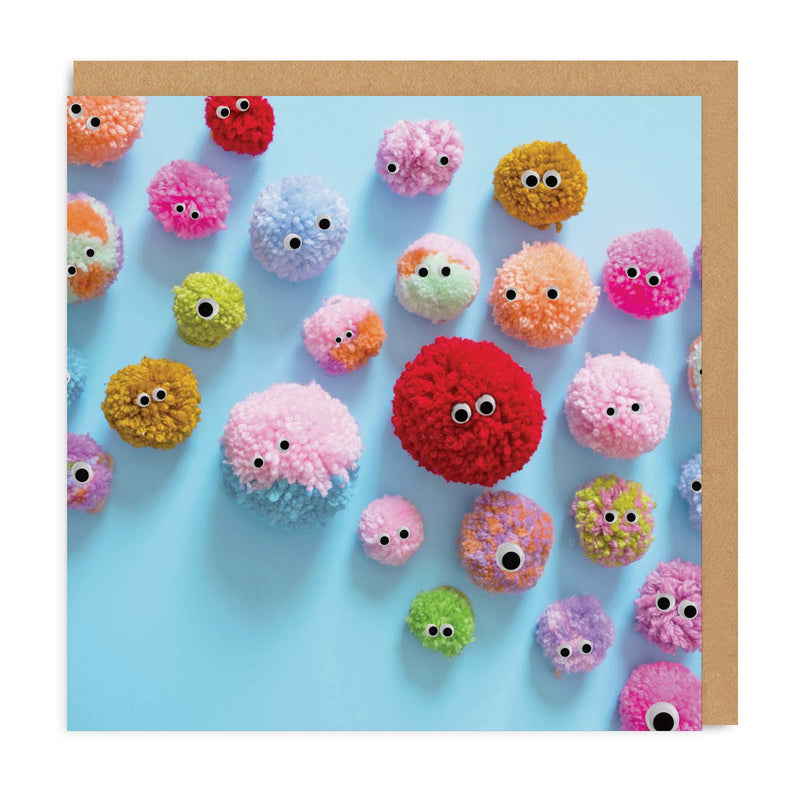 Pom Pom Friends Square Greeting Card
