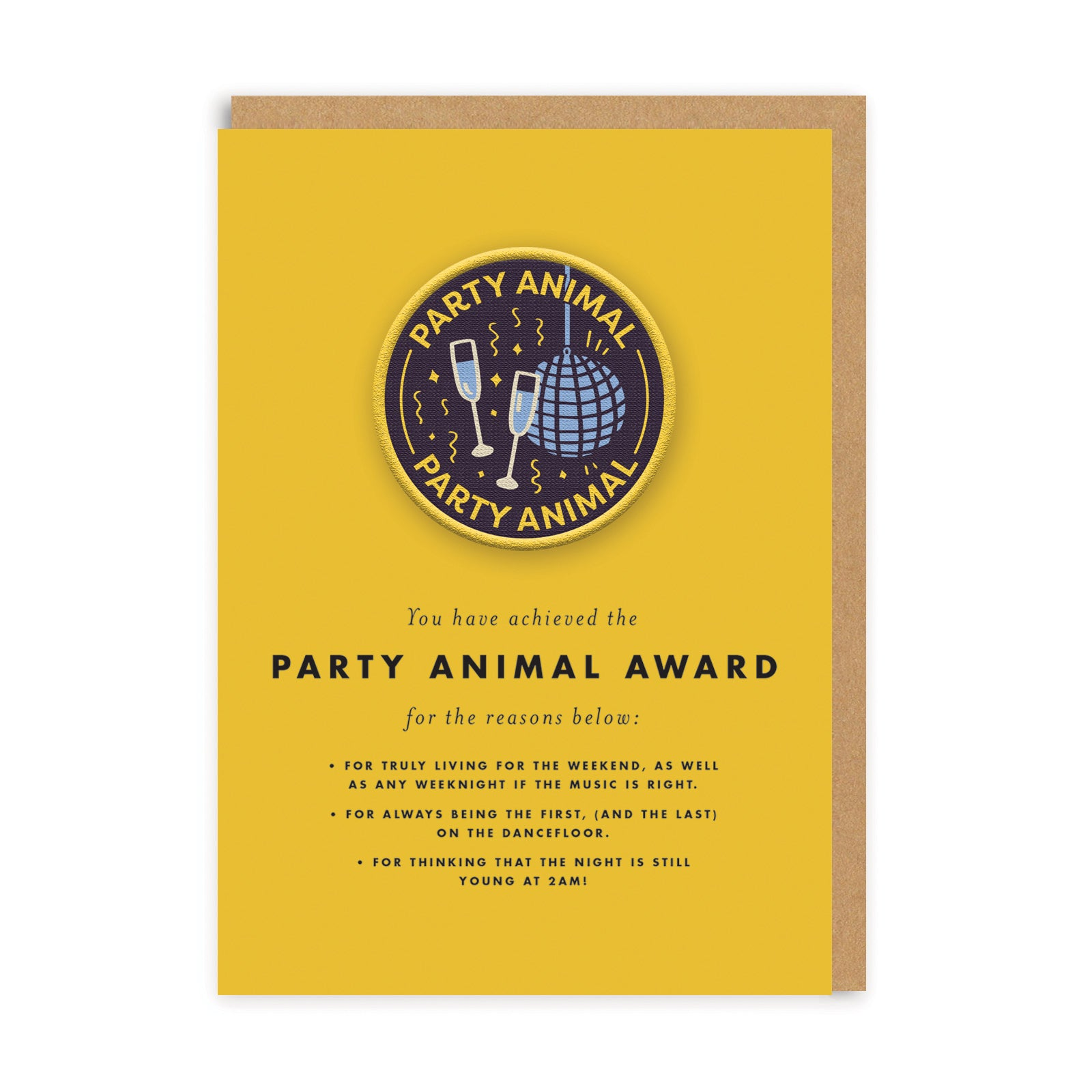 Party Animal Woven Patch Greeting Card