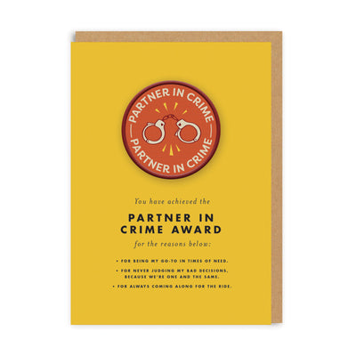 Partner In Crime Woven Patch Greeting Card