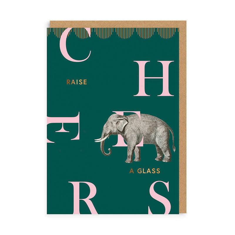 Cheers Elephant Greeting Card