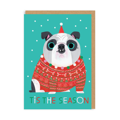 Tis The Season Bulldog Greeting Card