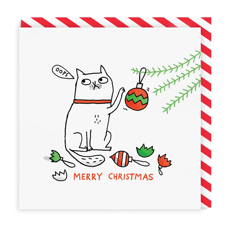 Oops Cat Merry Christmas Square Greeting Card