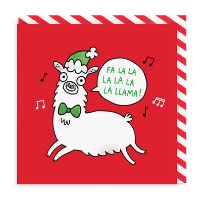 Fa La La La Llama Square Greeting Card