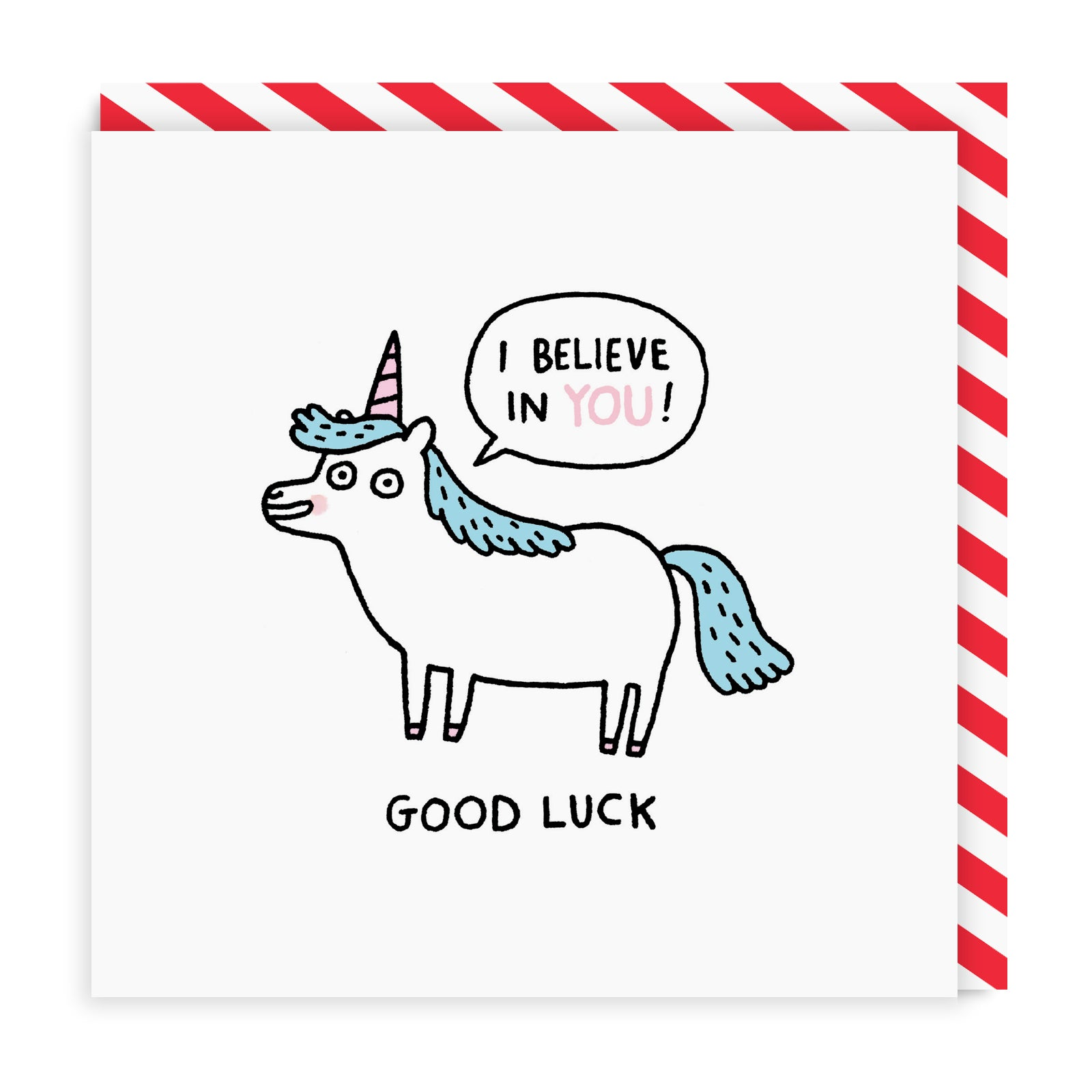 Good Luck Unicorn Square Greeting Card