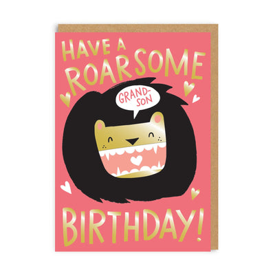 Roarsome Birthday Grandson Greeting Card