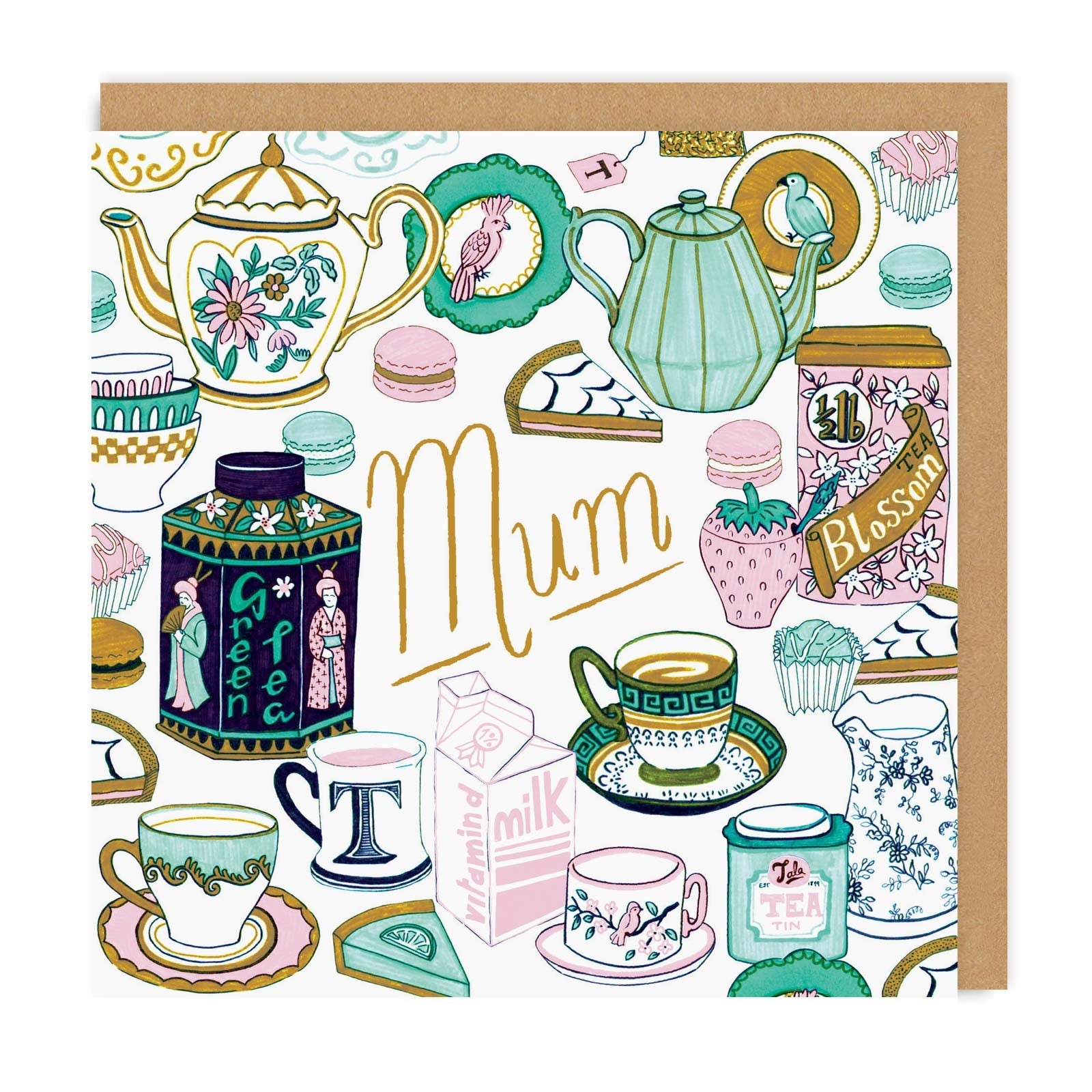 Tea Time Square Greeting Card