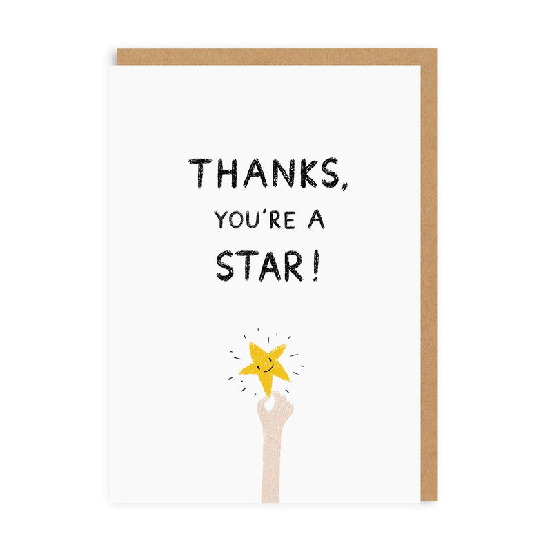 Thank You Gold Star Greeting Card