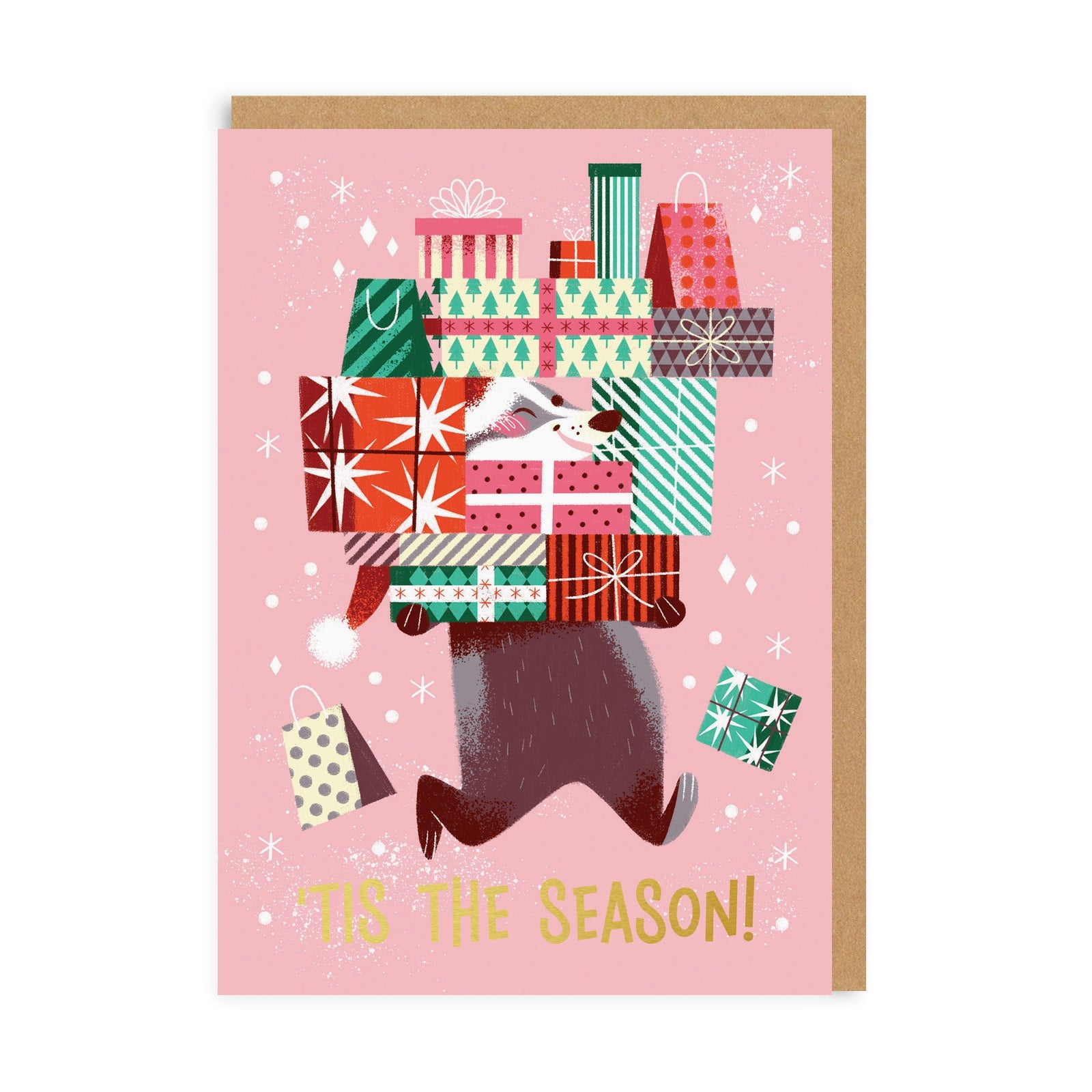 Tis The Season Badger Greeting Card