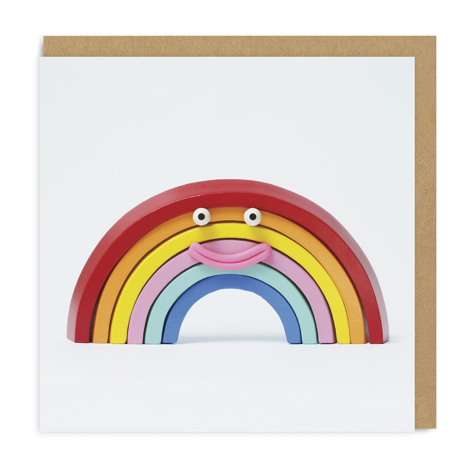 Rainbow Smiley Face Square Greeting Card