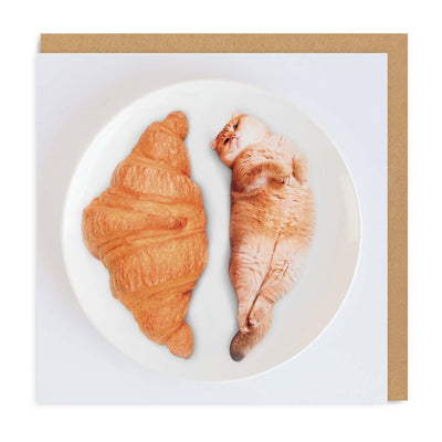 Cat Croissants Square Greeting Card