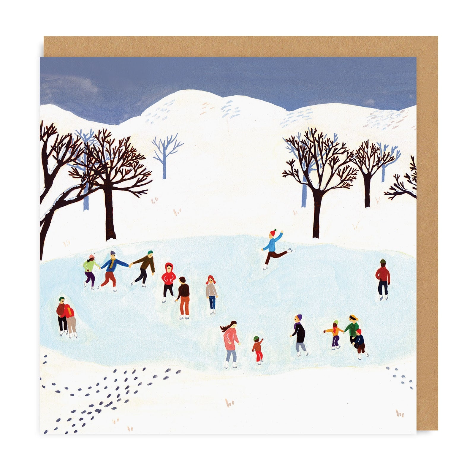 Ice Skating Square Greeting Card