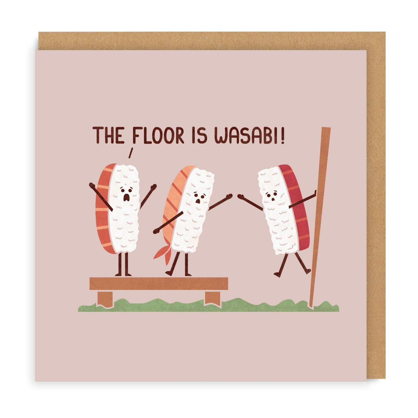 The Floor Is Wasabi Square Greeting Card