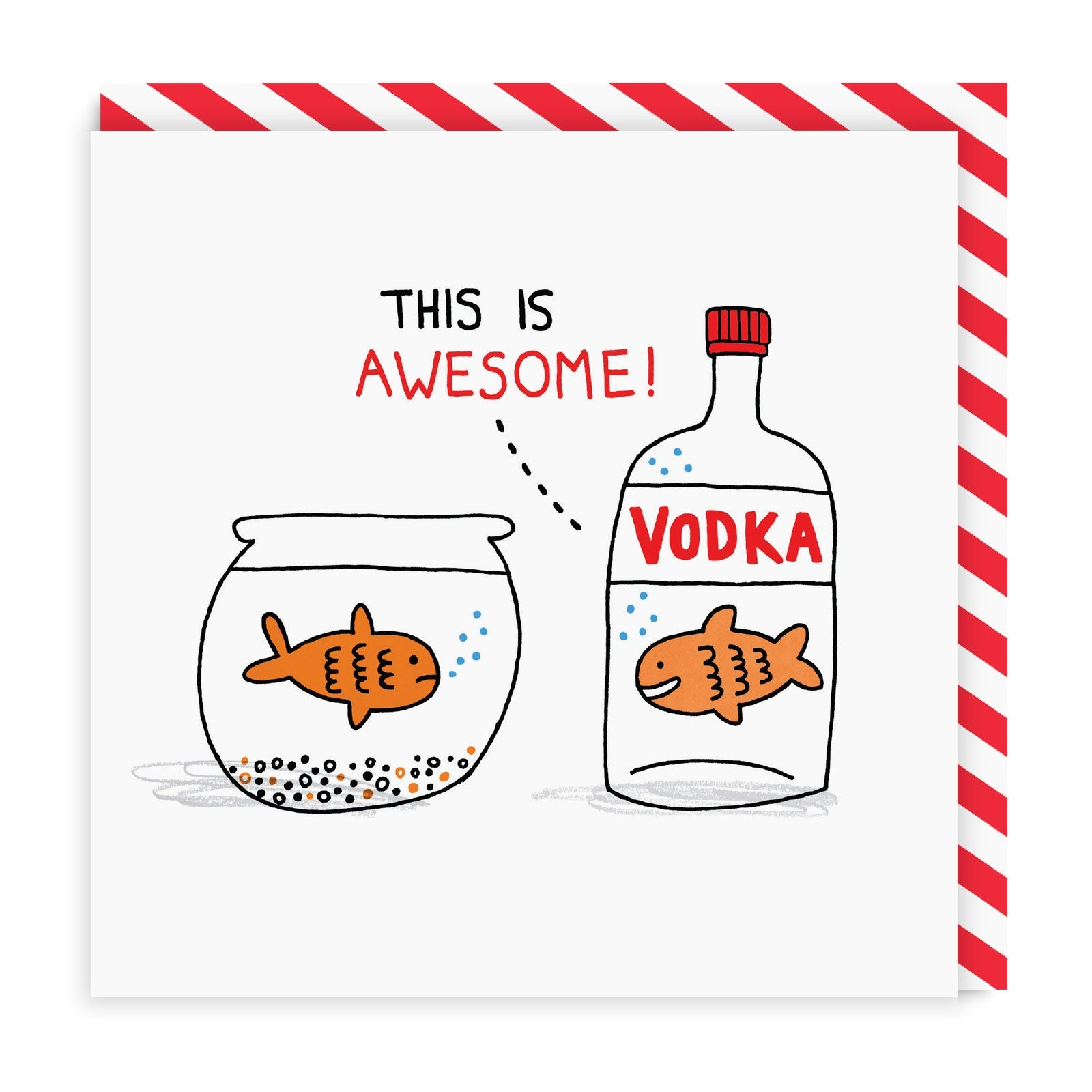 Vodka Goldfish Square Greeting Card