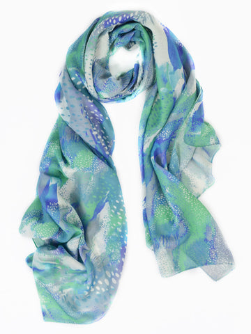 Minty Watercolor Abstract Silk Wool Scarf