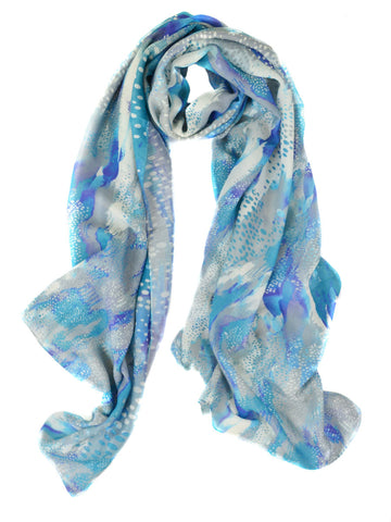 Watercolor Abstract Silk Wool Scarf