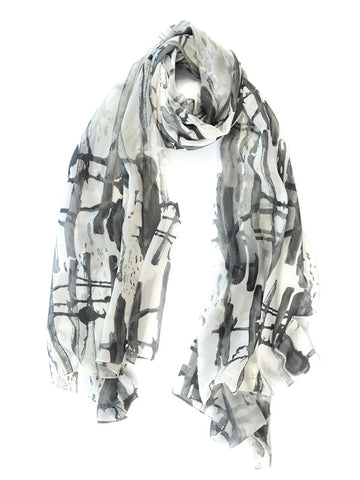 Inkblot Watercolor Silk Fashion Scarf