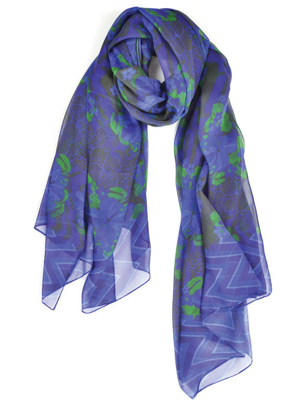 Abstract Flowers With Chevron Border Silk Scarf
