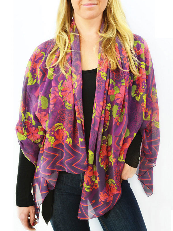 Flowers and Chevron Silk Scarf
