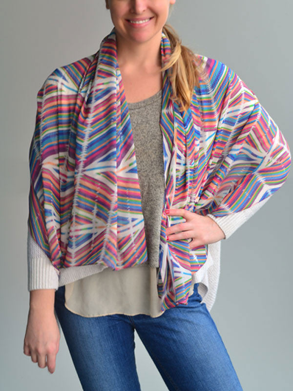 Colorful Aztec Print Silk Scarf