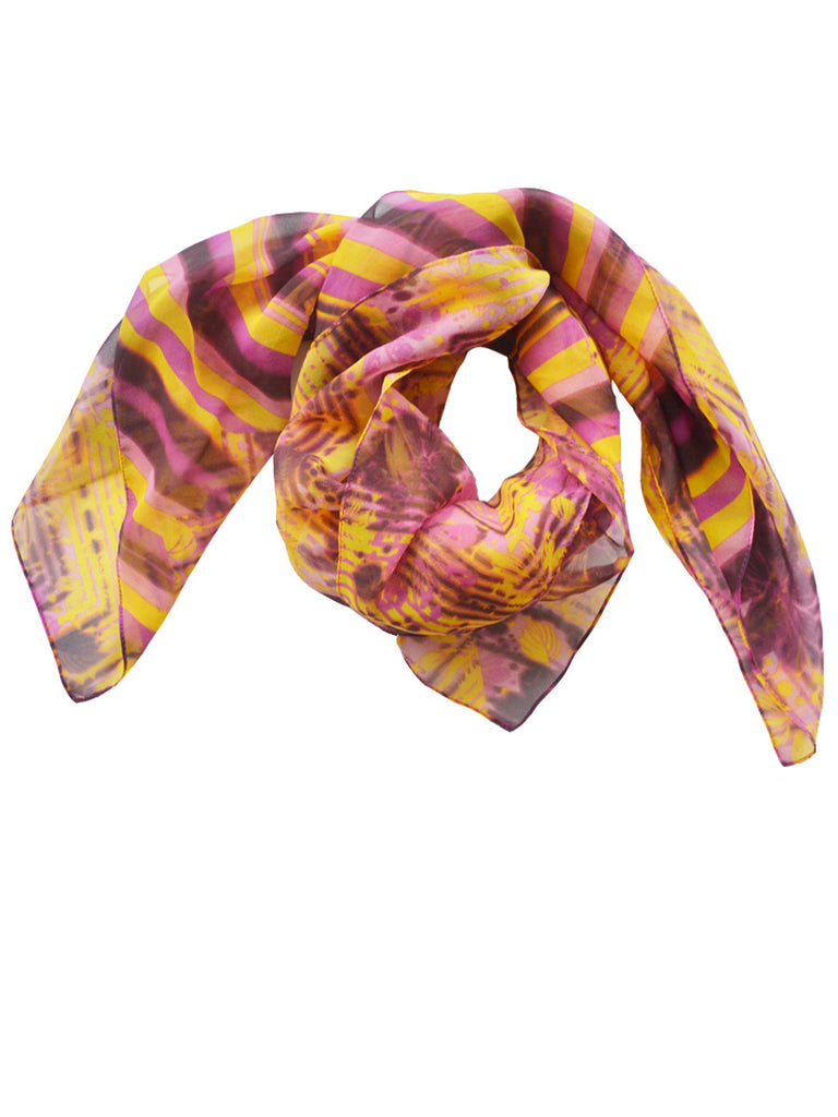 Flowers and Stripes Fashion Scarf