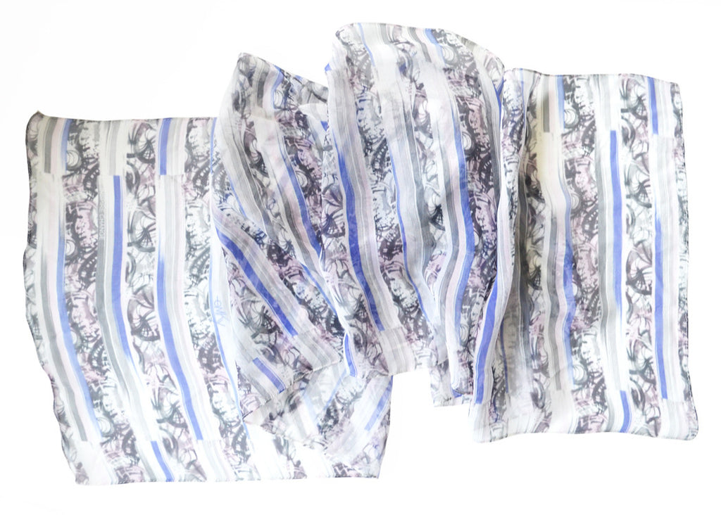 Striped Irony Silk Scarf