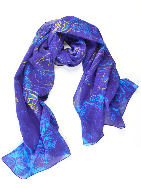 Blue and Purple Brush Stroke Women's Scarf