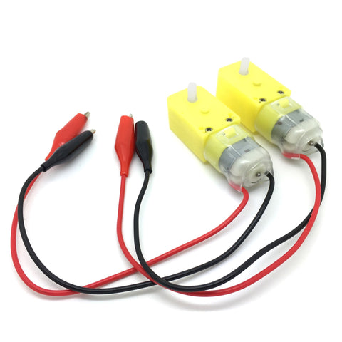 Pair of Geared Motors With Alligator Clip Leads Attached - TeacherGeek