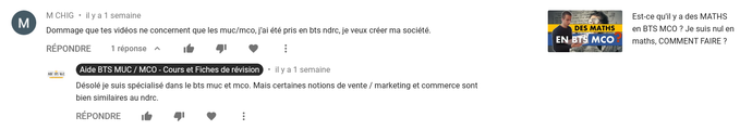 Youtube | Commentaire de M. CHIG | AIDE BTS MCO