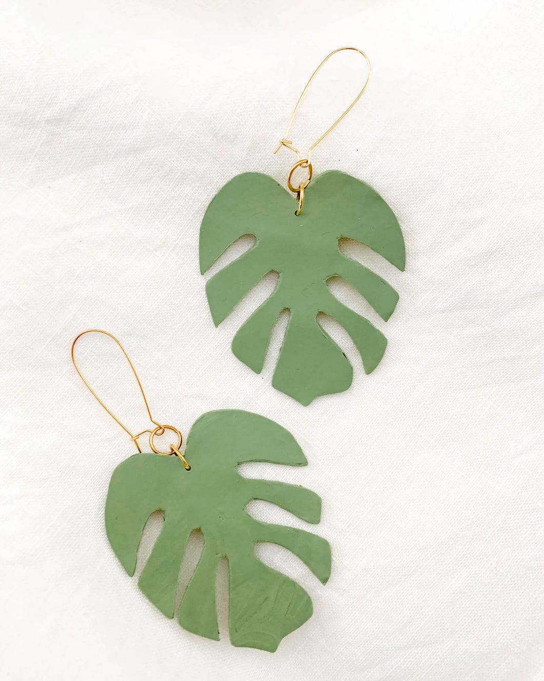 The Really Big Monstera Leaf Earring- Olive
