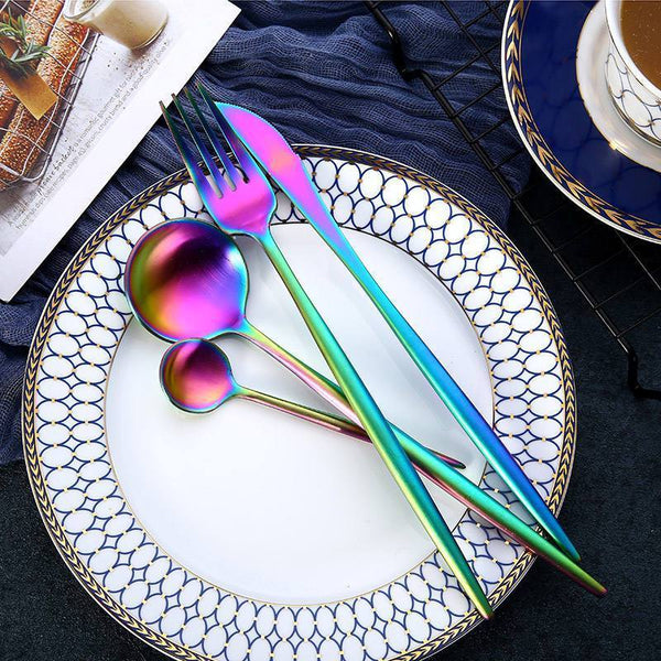 Rainbow Mirror Stainless Steel Flatware 24-Piece