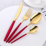 Mirror Gold Toned Flatware, Red Handle