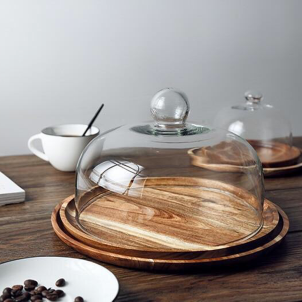 Acacia Serving Board With Glass Dome