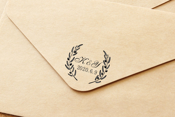 Personalized Wedding Stamp Anja 50 mm diameter Buchenholzbriff with individualized rubber stamp plate