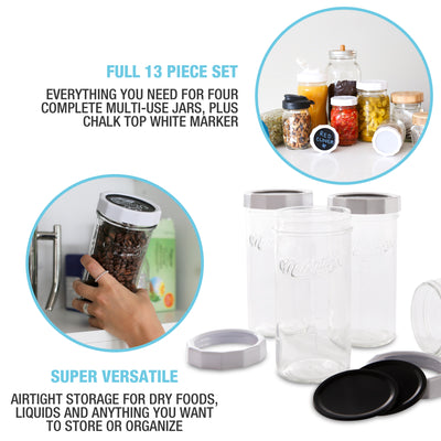 Multi-Use Mason Jars & Lid Set