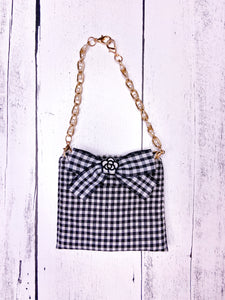 BLACK AND WHITE CHECKERED TOP WITH MATCHING BAG by Archie & Winston