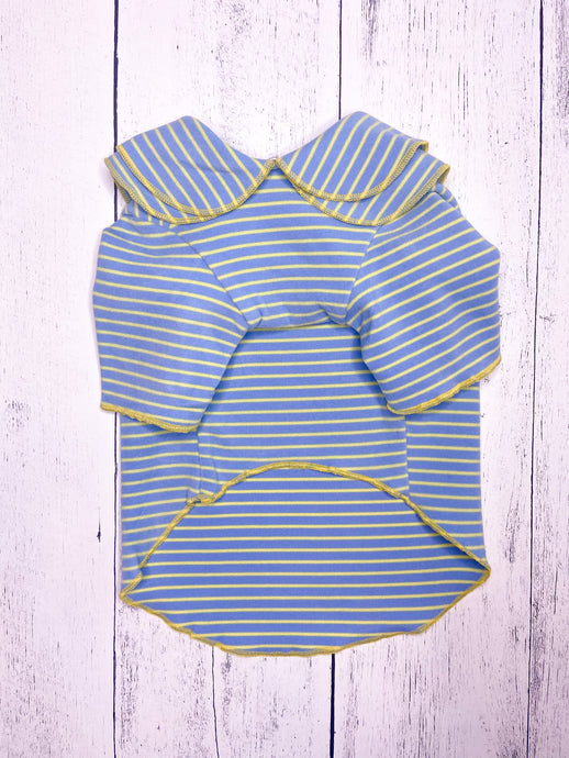 BLUE WITH LIME STRIPED RUFFLED COLLAR SHIRT by Archie & Winston