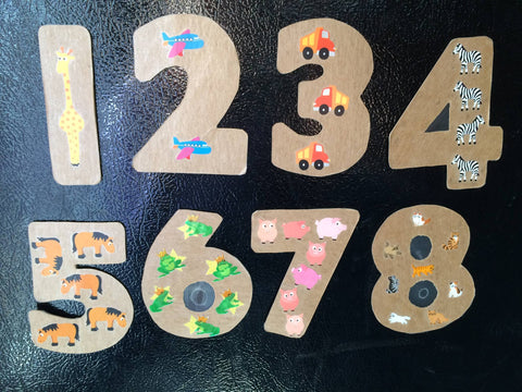 Number magnets with stickers