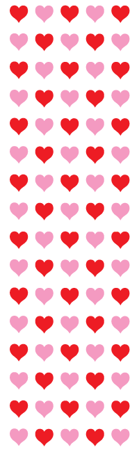 Micro red & pink hearts, sticker, Mrs. Grossman's Sticker Factory