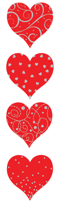Red and Silver hearts, stickers, Mrs. Grossman's Sticker Factory
