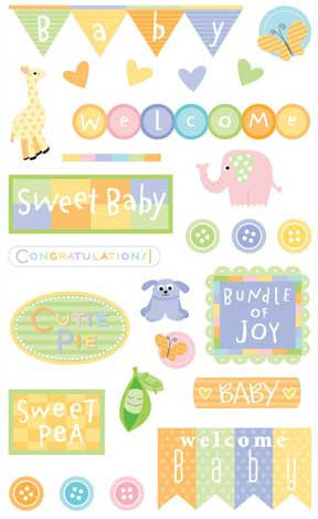 baby shower, sticker, Mrs. Grossman's Stickers