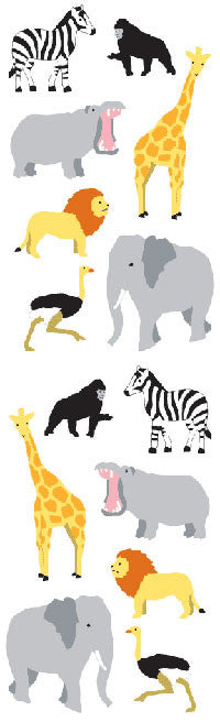 Wild Animals, sm, stickers, Mrs. Grossman's Sticker Factory