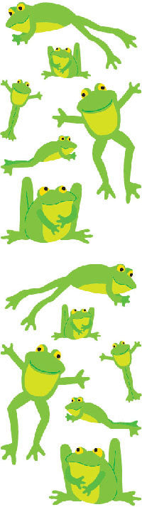 Playful Frogs, sticker, Mrs. Grossman's Stickers