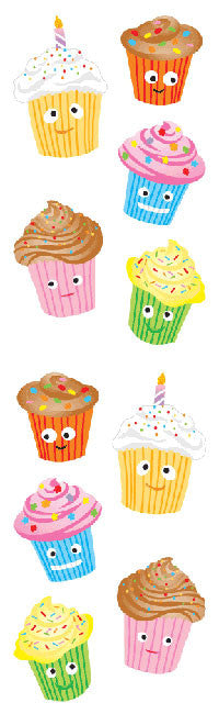Cutie Cupcakes, sticker, Mrs. Grossman's Stickers